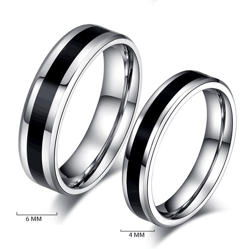 Anéis de aço inoxidável, aliança clássica, anéis de casamento para mulheres, homens, cor preta e prata, joias de casal, banda de promessa