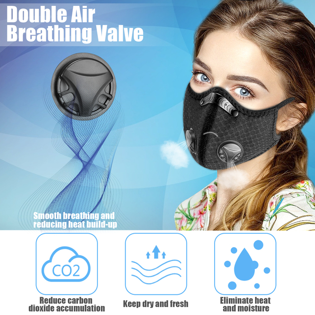 2PCS Fabric Face Mask With Filte Activated Carbon PM 2.5 Anti Pollution Running Cycling Masks Sport Protection Facemask 2