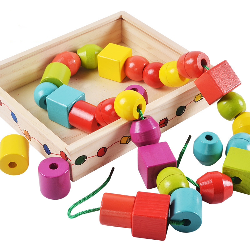 Baby Wooden Beads Toys Set Box DIY Shape Beading Toy Kids Stringing Threading Beads Game Montessori Toys Early Education