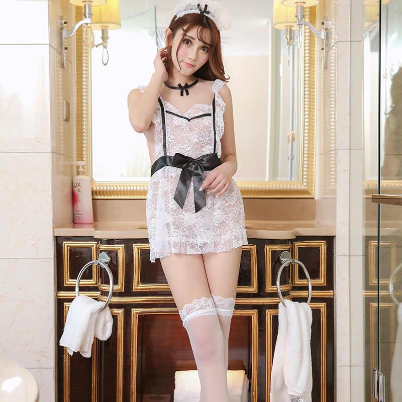 Fransız hizmetçi üniformaları japon iç çamaşırı şeffaf elbise uyku seti seks oynamak öğrenci üniforma Cosplay hizmetçi iç çamaşırı günaha iç çamaşırı