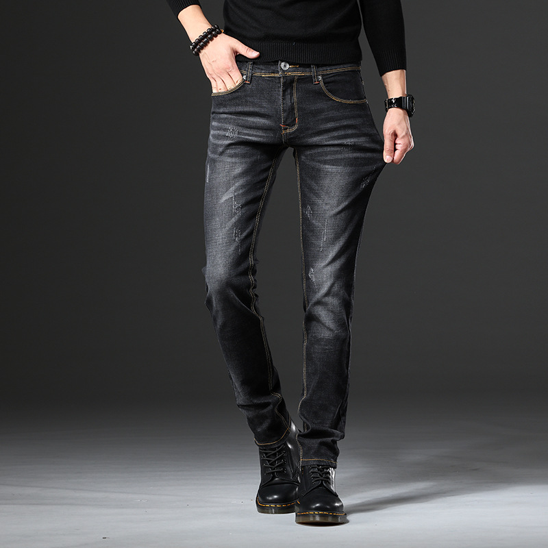 Men's Jeans Elasticity Skinny Casual Trousers Korean-style Slim Fit Washing Cat Whisker Trend Versatile Black Men's Trousers