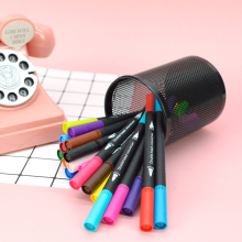 24pcs/set double headed Black penholder marker color Mark pen Simple fashion drawing pen students stationery