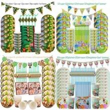 Juego de vajilla desechable para decoración de fiesta de cumpleaños en jungla, artículos de animales de la selva, Amigos del Bosque, temas de zoológico, Baby Shower Safari
