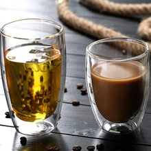 450ml thermal insulation double deck glass high borosilicate flower receptacle innovative mug coffee cup double wall insulated g Heat Resistant Double-Wall Insulated Glass Espresso Mugs Latte Coffee Glasses/Whisky/Coffee Cup/Tea Mug