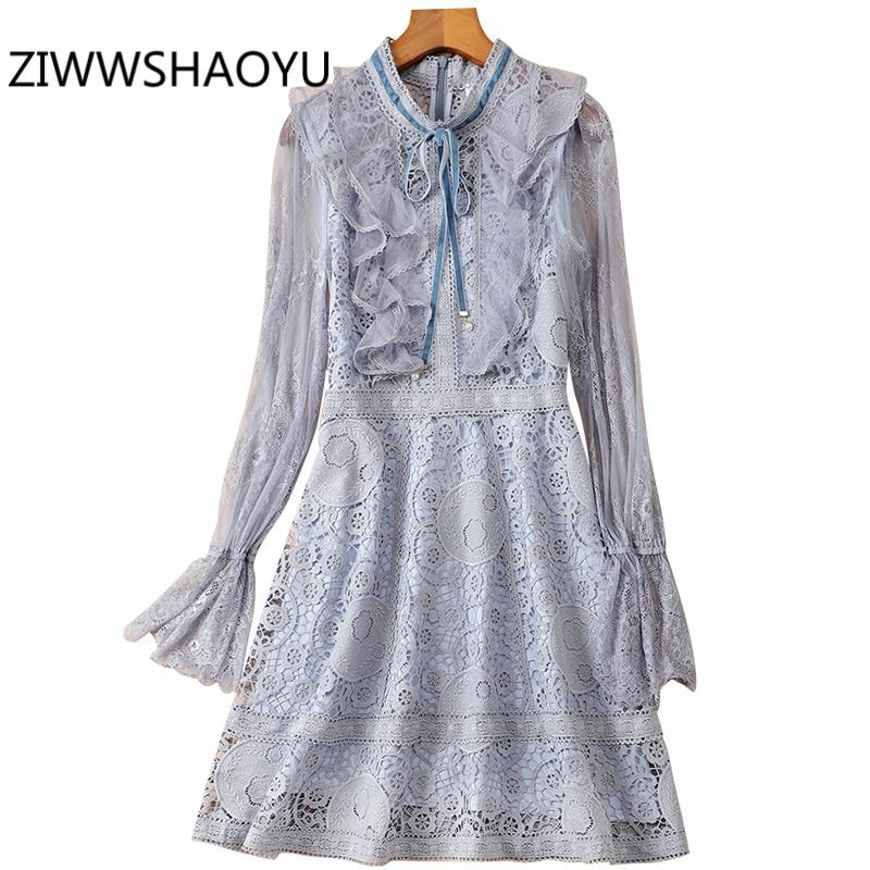 ZIWWSHAOYU Female Summer Solid Hollow Out Mini Dress Women Elegant Ruffles Flare Sleeve Women Bohemian Vacation Silk Dresses