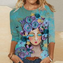 Harajuku t-shirty Damskie graficzne t-shirty Damskie moda codzienna luźna wokół szyi kolorowe nadruki z długim rękawem topy t-shirty Damskie