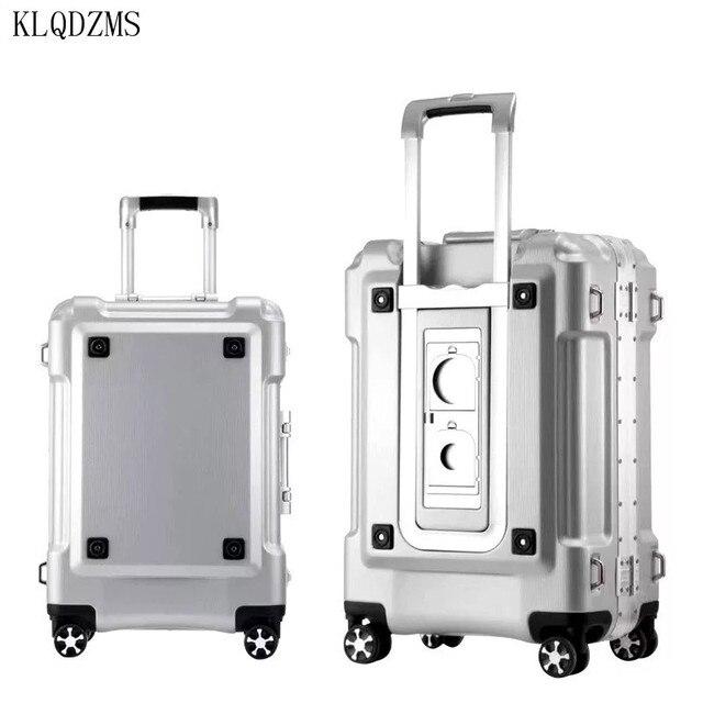 "KLQDZMS KLQDZMS 20""24""29inch aluminum frame rolling luggage spinner on wheel men women carry on travel suitcase trolley bag 2"