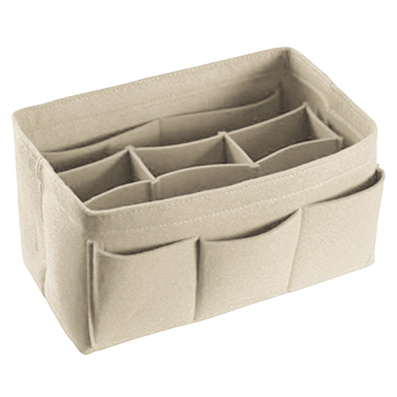 NEW-Felt Storage Bag Cosmetics Home Small Items Supplies Organizer Or Folding Storage Box Beige image