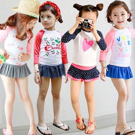 2019 New Two Piece Girls Swimsuit Long Sleeve Swimwear For Girls 2-11years Children's Swimwear Sweet Heart  Beachwear CZ998