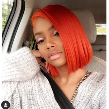 Blue Color 150% Density Lace Front Human Hair Wigs Pre Plucked Brazilian Remy Hair Short Red 613 Bob Wigs TPart Orange Lace Wigs 2