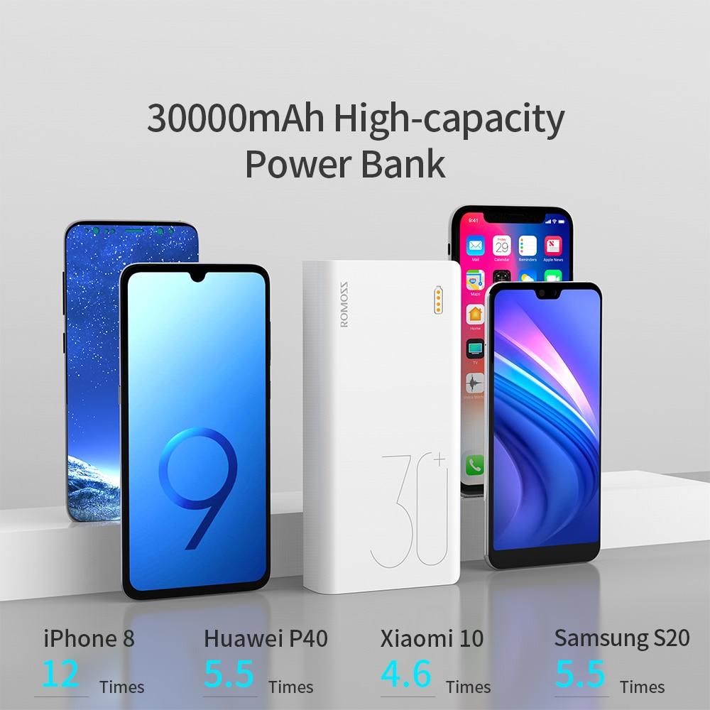 ROMOSS Sense 8+ Power Bank 30000mAh QC PD 3.0 Fast Charging Powerbank 30000 mAh External Battery Charger For iPhone Xiaomi Mi 2
