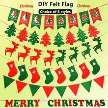 6 Styles of Christmas Flag Hanging Decoration DIY Craft Felt Supplies Decorate Room Doors Windows Kit