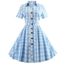 Retro Dress Pin-Up Cotton Robe Rockabilly Plaid Blue Plus-Size Women Short-Sleeve Vestidos