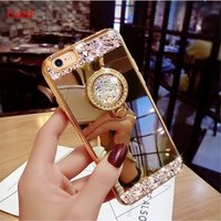 Luxury Rhinestone Bling Case Cover for Iphone 7 8 4 5 6 6S Plus X Phone Case 2018 Phone Cases Protector Diamond Case Mirror