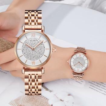 Livraison directe or Rose Bracelet en acier inoxydable montre femmes mode femmes montres à Quartz Hip Hop diamants dames horloge femme