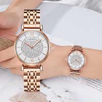 O envio da gota prata rosa ouro aço inoxidável pulseira relógio feminino moda das mulheres relógios de quartzo senhoras relógio feminino presente xfcs