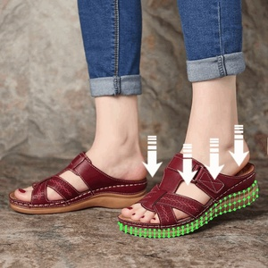 Litthing Dropship Women's Summer Open Toe Comfy Sandals Super Soft Premium Orthopedic Low Heels Walking Sandals Corrector Cusion(China)