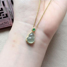 Pendant Necklace Light Egg-Noodle Retro Charm Silver Jewelry Chalcedony-Gourd Chinese