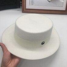 White hat flat short canopies wool winter all match British Korean m hat our wide brimmed hat