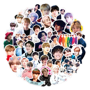 50pcs/pack Handsome Korea Group Kpop Stickers For Skateboard Helmet Gift Box Bicycle Computer Notebook Car Children's Toys Etc