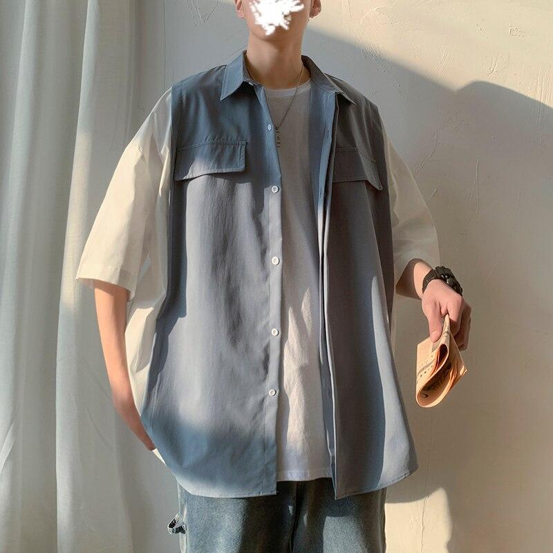 Новинка, короткий рукав, белый, черный цвет, Лоскутная Мужская одежда, модная летняя брендовая M-2XL, мужская приталенная рубашка из полиэстера, Повседневная Свободная рубашка