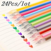 24Pcs Colorful Refils Diamond Head Refill Creative Candy 12 Color Gel Pen Refills 0.38mm Office Stationery School Supplies(China)