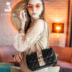 Image 3 - FOXER Women Chain Strap Messenger Bag Diamond Lattice Flap Lady High Quality Leather Ladies Shoulder Bags Valentines Day Gift