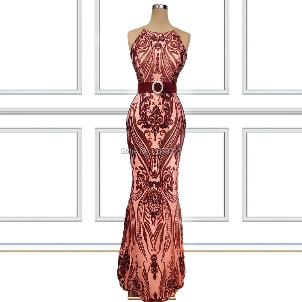 2019 Coral Halter Mermaid/Trump Long Evening Dress Sleeveless Satin Floor-length Metal Spraying Beaded Prom Dress Formal Zipper