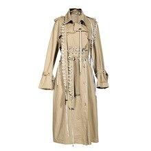 רחוב גבוה 2019 סתיו חורף מעצב תעלת נשים של חבל לשרוך אופנתי תעלת מעיל