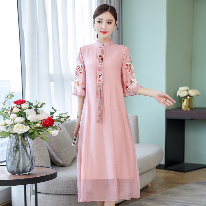 2019 Spring And Summer New Style Loose-Fit Slimming Embroidered Ethnic-Style WOMEN'S Dress Literature And Art Elegant Stand Coll