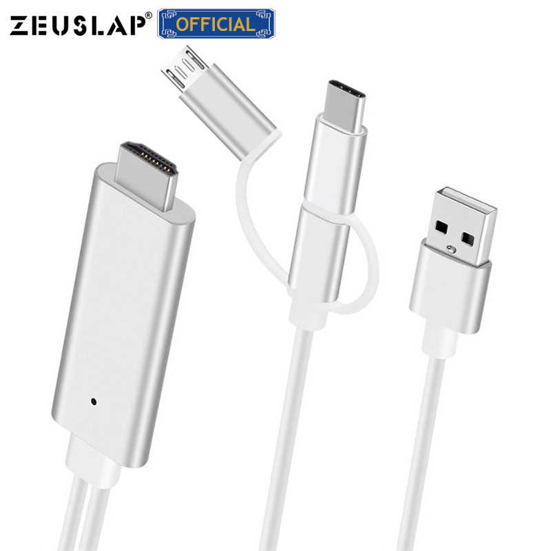 Micro USB di TIPO C Fulmine al Cavo di HDMI HDTV TV Digitale AV Adattatore 1080P Cavo USB Per il iPhone iPad E Smartphone Android