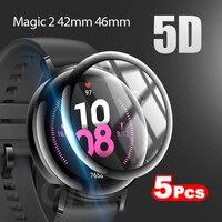 5D Gebogen Rand Volledige Dekking Zachte Beschermende Film Cover Voor Huawei Honor Magic Horloge 2 42Mm 46Mm Screen protector (Geen Glas)