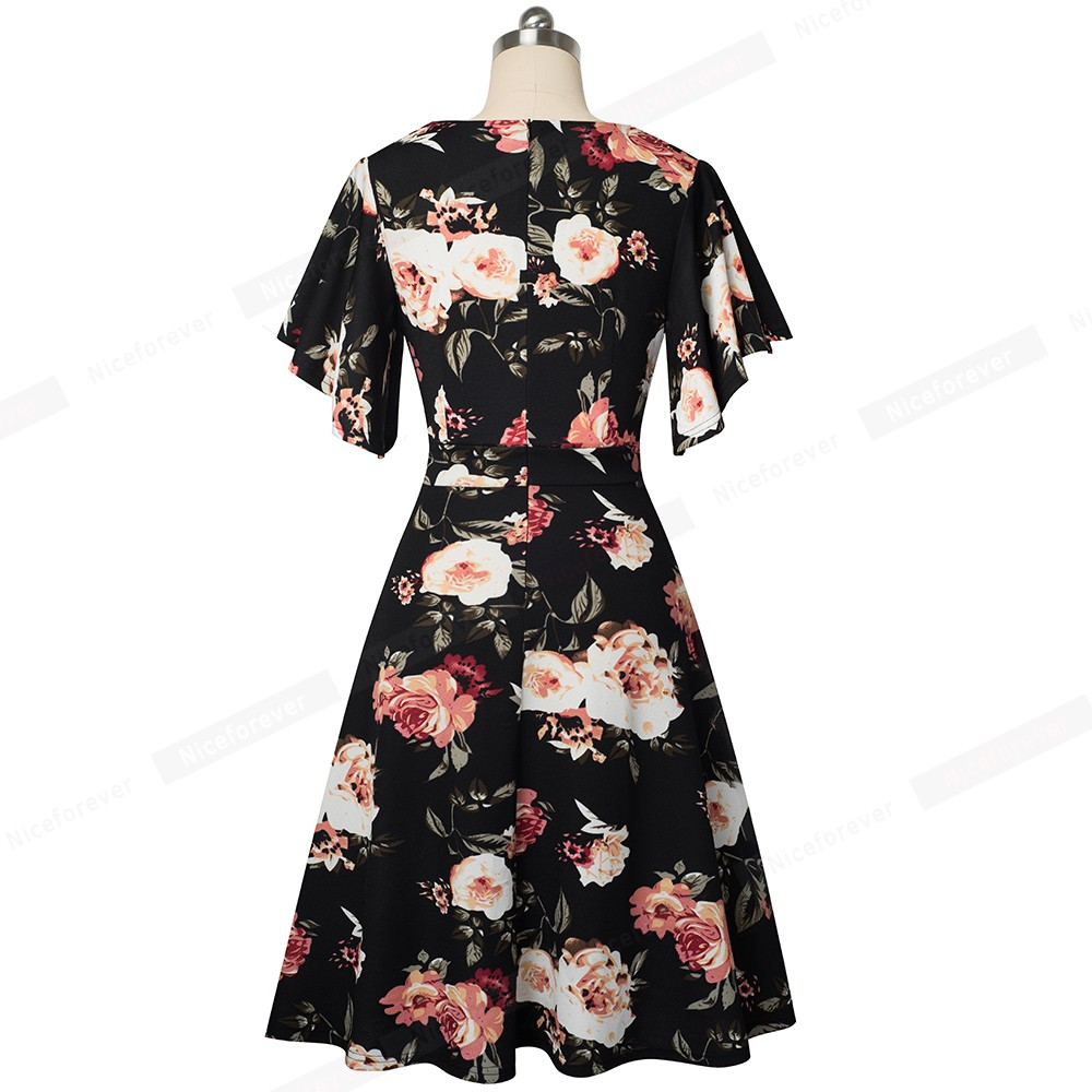 Image 2 - Nice forever Spring Elegant Floral with Ruffle Sleeve vestidos Business Party A Line Women Flare Dress A193Dresses   -