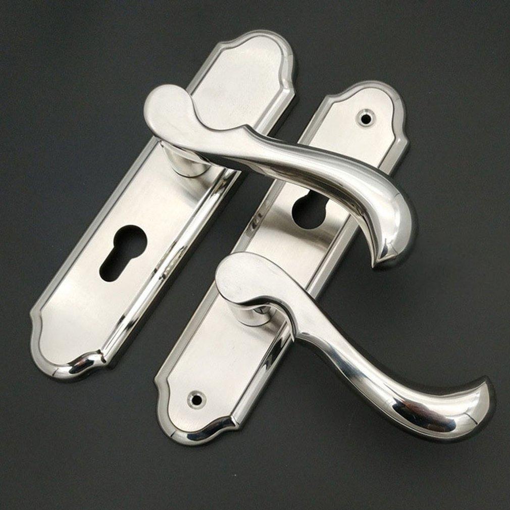 Durable Door Handle Lock Cylinder Front Back Lever Latch Home Security W/ Keys Dual Latch Room Door Panel Security Locks