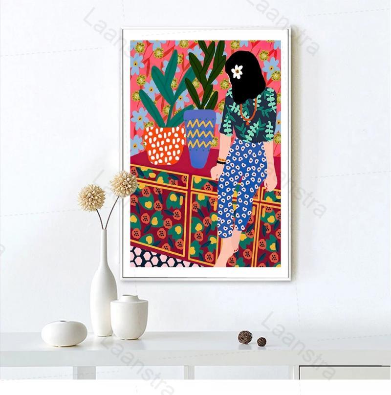 Мультяшная красочная Картина на холсте постер скандинавские