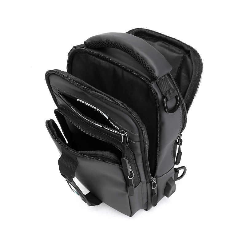 2019 OZUKO Nueva Bolsa multifunción para bandolera para hombre mochila para el pecho y doble bolsa de hombro impermeable para hombre bolso de mensajero de viaje corto