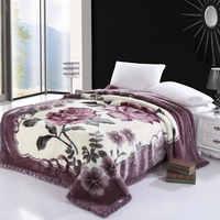 Juego de fundas de cama de lujo con flores impresas de piel sintética manta de forro polar Ultra Sof cubrecamas grueso y cálido