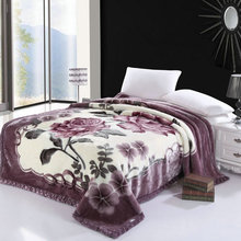 Blossom Flowers printed Faux Fur Fleece Throw Blanket Ultra Sof Warm Thick Bedspread Luxury Bed cover set