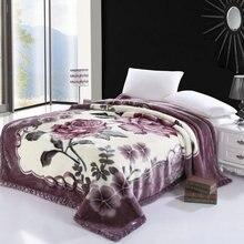 Çiçeği çiçek baskılı taklit kürk polar şal battaniye Ultra Sof sıcak kalın yatak örtüsü lüks yatak yatak örtüsü seti