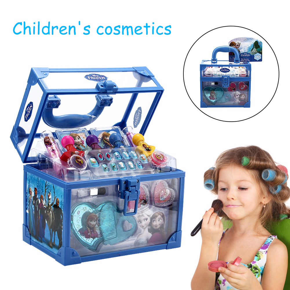 Kids Cosmetics Make-up Set For Girls Ice Romance Princess Makeup Case Birthday Gift Play House Toy Pretend Play Toy For Children