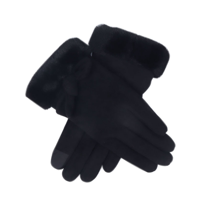 Autumn Winter Ladies Gloves Plus Velvet Bowknot Touch Screen Cute Warm Suede Mitts Full Finger Female Cold Protection Gloves