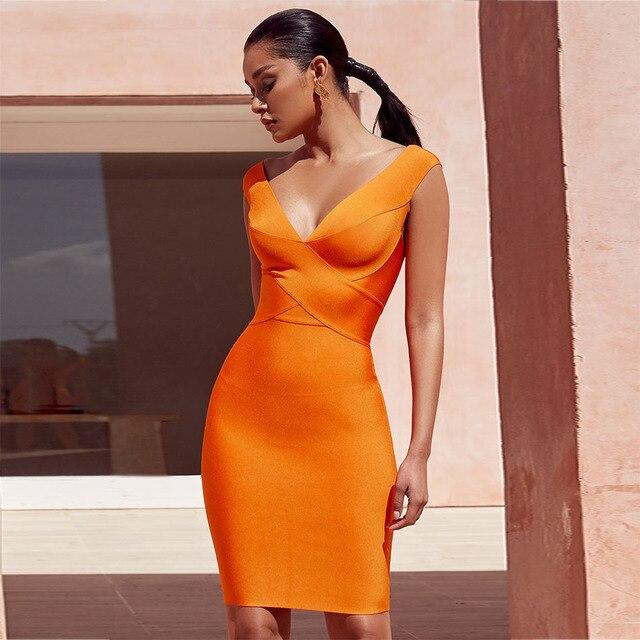 最新のボディコン包帯ドレスの女性のオレンジvネックのセクシーなナイトクラブセレブイブニングパーティードレス女性vestidos