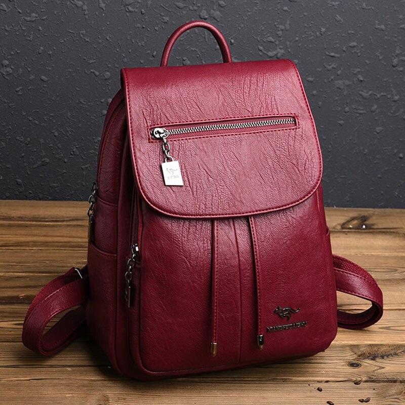 2019 Women Leather Backpacks Female Shoulder Bag Sac A Dos Ladies Bagpack Vintage School Bags For Girls Travel Back Pack Mochila
