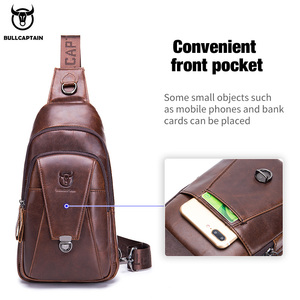 Image 3 - BULLCAPTAIN Genuine Leather Chest Back Pack chest bag men fashion Messenger bags Multifunctional card bages mobile phone bags