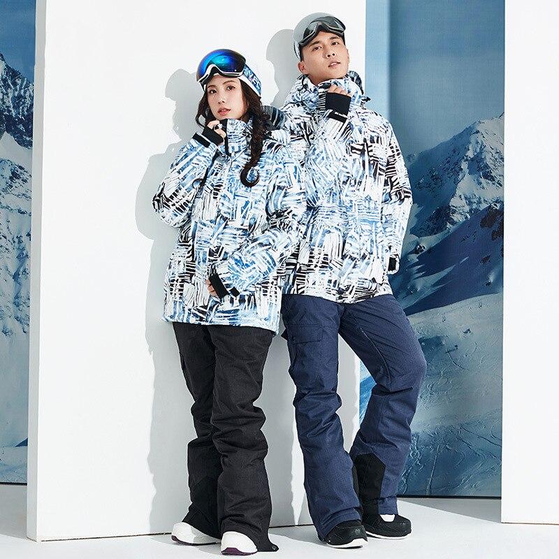 2019 hiver hommes Ski costume hiver à capuche chaud snowboard femmes neige costumes sport Ski vêtements vestes salopette mâle Ski ensembles