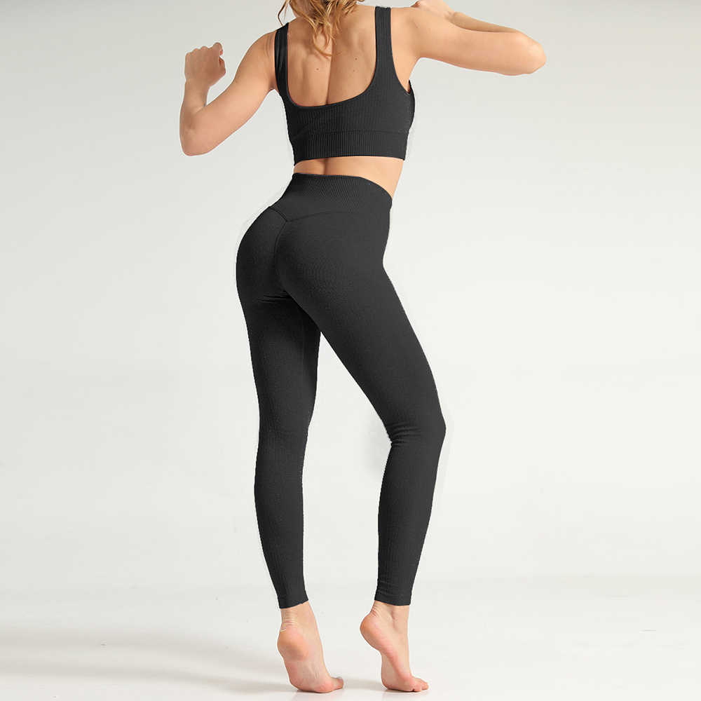 Leggings Vrouwen Fitness Sets Beha Crop Top + Broek Snel Droog Yoga Gym Sport Set Hollow Out Fitness Pak yoga Push Up Leggings
