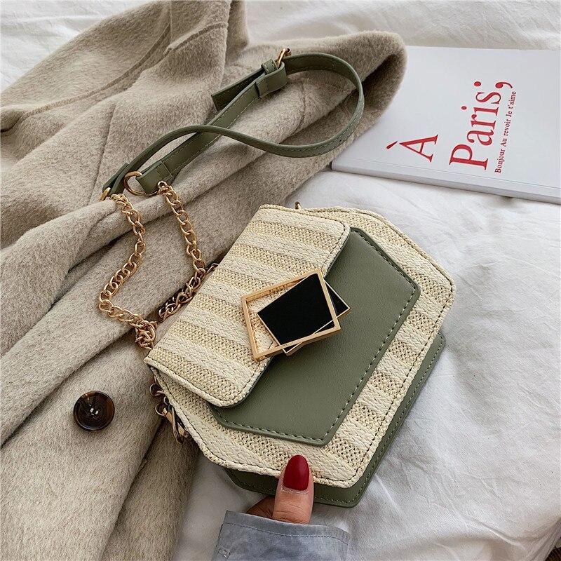 Fashion Hexagon Mulit Style Straw+pu Bag Handbags Women Chain Small Flap Bag For Women Straw Crossbody Bags Ladies Shoulder Bags