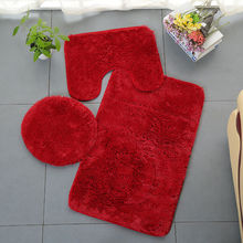 3PCS Bath Mat Toilet Set Seat Cover Non-Slip Shower Floor Washable Bathroom Rugs