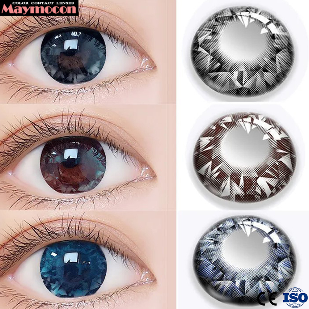 Maymocon Color Contact Lenses Colored Large Diameter Dianomd Bright Shining  Brown Beautiful Pupil Cosmetic Make Up Beauty