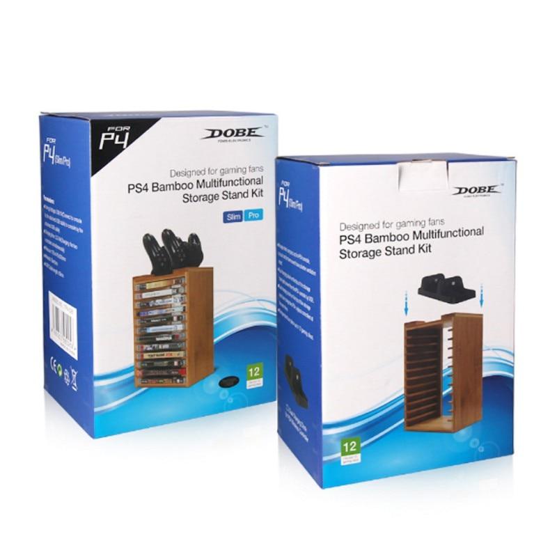 Kit de rangement multifonction en bambou pour PlayStation PS4 Slim Pro